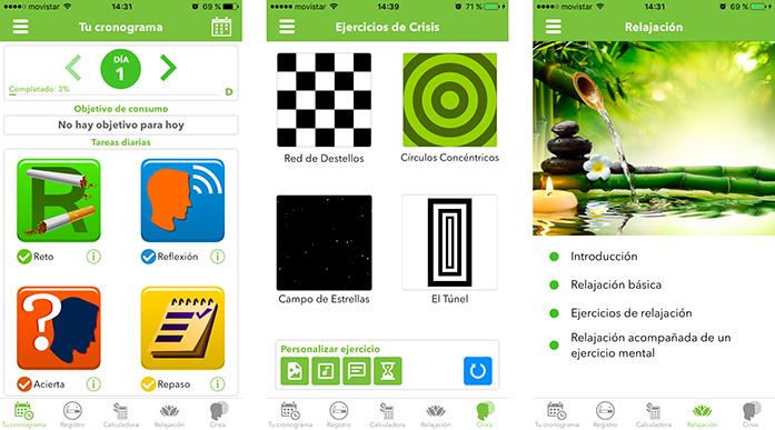 Herramientas healthtech: Capturas con las distintas funcionalidades de la aplicación Stop Tabaco Mobile Trainer